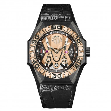 Reef Tiger  Men Sport Watches Automatic Skeleton Watch All Black Waterproof Leather Strap RGA6912-PPWL