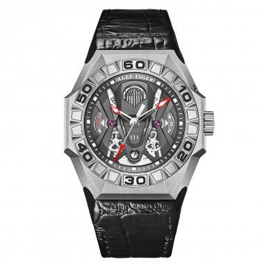 Reef Tiger  Men Sport Watches Automatic Skeleton Watch Steel Waterproof Leather Strap RGA6912-YBBL