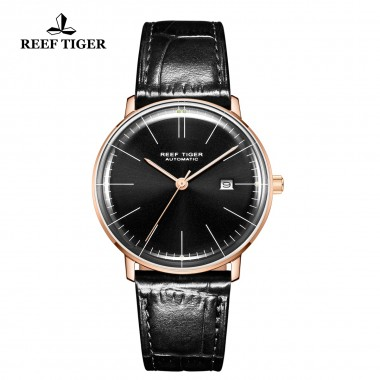Reef Tiger/RT Men Luxury Brand Automatic Watch Leather Strap Blue Dial Rose Gold Casual Watches RGA8215