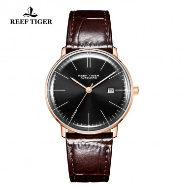 Reef Tiger/RT Men Luxury Brand Automatic Watch Leather Strap Blue Dial Rose Gold Casual Watches RGA8215-PBS