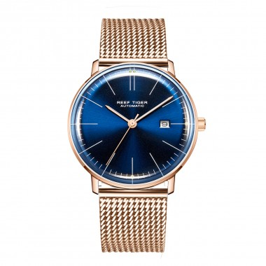 Reef Tiger/RT Top Brand Luxury Blue Dial Thin Watch for Men Rose Gold Watch Waterproof Automatic Men's Watches RGA8215