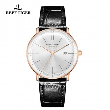 Reef Tiger/RT Men Luxury Brand Automatic Watch Leather Strap Blue Dial Rose Gold Casual Watches RGA8215-PWB