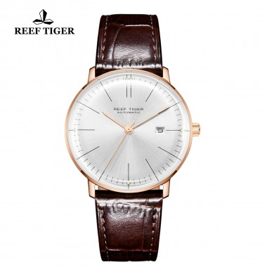 Reef Tiger/RT Men Luxury Brand Automatic Watch Leather Strap Blue Dial Rose Gold Casual Watches RGA8215-PWS