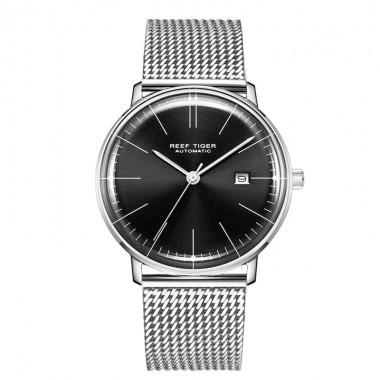 Reef Tiger/RT Top Brand Luxury Black Thin Watch for Men Full Steel Watch Waterproof Simple Watches RGA8215