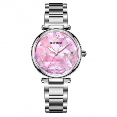 Reef Tiger/ RT Pink Dial Fashion Diamond Women Watches Stainless Steel Bracelet Automatic Luxury Watch RGA1584