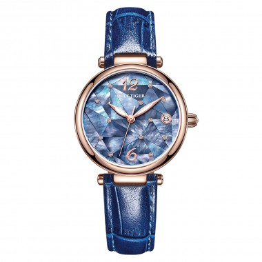 Reef Tiger/RT New Design Fashion Ladies Watch Rose Gold Blue Dial Mechanical Watch Leather Band Femme RGA1584