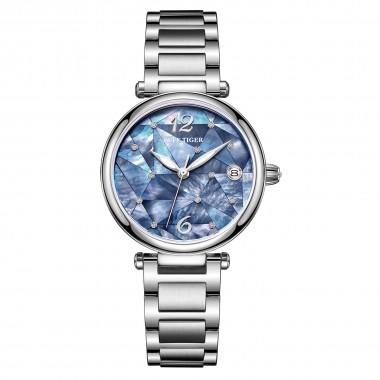 Reef Tiger Fashion Diamond Luxury Dress Watch Stainless Steel Bracelet Automatic Waterproof Stainless Steel Watch RGA1584