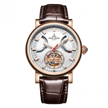 Reef Tiger/RT Automatic Watch For Men Rose Gold White Dial Leather Strap Watch With Date RGA1950