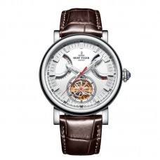 Reef Tiger/RT Brand Watch For Men White Dial Brown Leather Strap Automatic Luxury Watch RGA1950