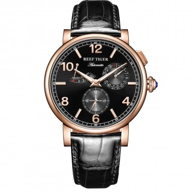 Reef Tiger/RT Luxury Men Leather Strap Calendar Rose Gold Case Genuine Analog Automatic Watches RGA1978