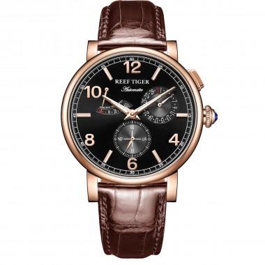 Reef Tiger/RT Luxury Men Leather Strap Calendar Rose Gold Case Genuine Analog Automatic Watches RGA1978-PBW