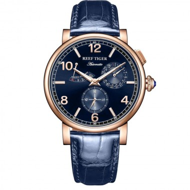 Reef Tiger/RT Luxury Men Leather Strap Calendar Rose Gold Case Genuine Analog Automatic Watches RGA1978-PLL