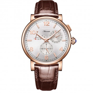 Reef Tiger/RT Luxury Men Leather Strap Calendar Rose Gold Case Genuine Analog Automatic Watches RGA1978-PWW