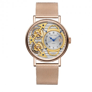 Reef Tiger Designer Fashion Watches Genuine Leather Band Luxury Rose Gold Automatic Watches RGA1995-PSPS