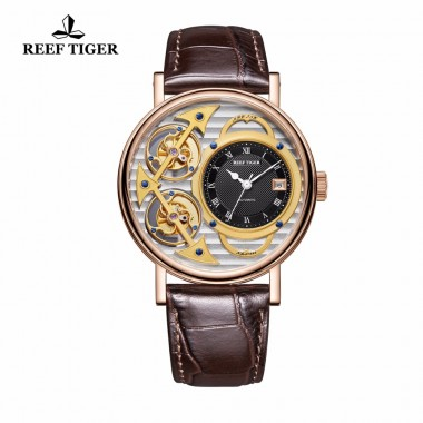 Reef Tiger Designer Fashion Watches Genuine Leather Band Luxury Rose Gold Automatic Watches RGA1995-PSSB