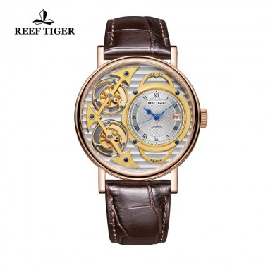 Reef Tiger Designer Fashion Watches Genuine Leather Band Luxury Rose Gold Automatic Watches RGA1995-PSSS
