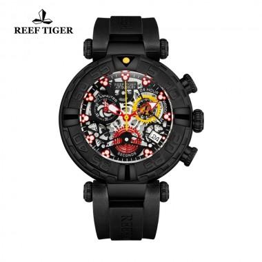 Reef Tiger/RT Black Men Watch Big Skeleton Waterproof Rubber Strap Chronograph Stop Watch Date Sport Watches RGA3059-S