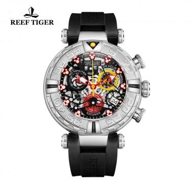 Reef Tiger/RT New Design Top Brand Men Watches Skeleton Sport Watches Rubber Strap Luxury Transparent Big Watch RGA3059-S