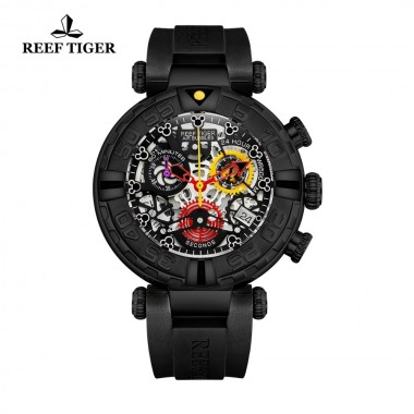Reef Tiger/RT Black Men Watch Big Skeleton Waterproof Rubber Strap All Black Chronograph Stop Watch Date Sport Watches RGA3059-S