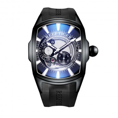 Reef Tiger/RT New Arrival Sports Mens Automatic All Black Rubber Strap Waterproof Watch RGA3069S-BWB