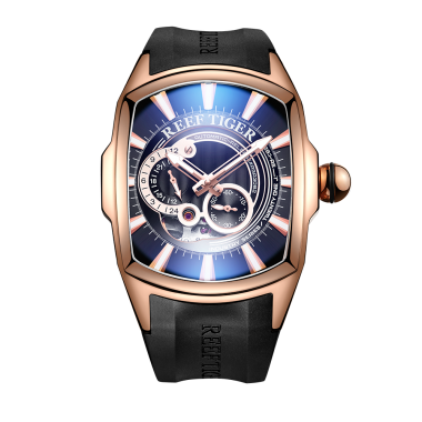Reef Tiger/RT New Arrival Mens Rose Gold Case Rubber Strap Waterproof Automatic Watch RGA3069S-PBB