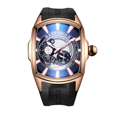 Reef Tiger/RT New Arrival Mens Rose Gold Case Rubber Strap Waterproof Automatic Watch RGA3069S-PBWB