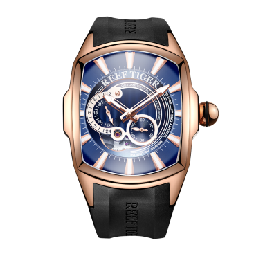 Reef Tiger/RT New Arrival Mens Rose Gold Case Rubber Strap Waterproof Automatic Watch RGA3069S-PLB