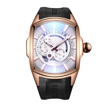 Reef Tiger/RT New Arrival Mens Rose Gold Case Rubber Strap Waterproof Automatic Watch RGA3069S-PWB