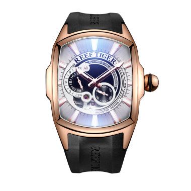 Reef Tiger/RT New Arrival Mens Rose Gold Case Rubber Strap Waterproof Automatic Watch RGA3069S-PWBB