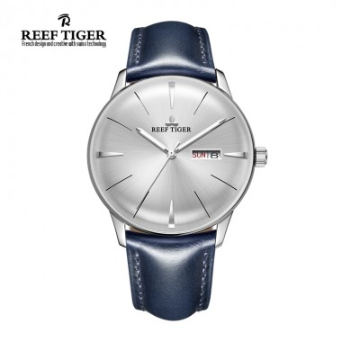Reef Tiger/RT Mens Dress Watches Convex Lens Automatic Watches Steel Case With Leather RGA8238-YWLH