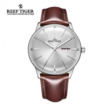 Reef Tiger/RT Mens Dress Watches Convex Lens Automatic Watches Steel Case With Leather RGA8238-YWSH