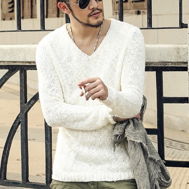 Pullover Men V Neck Sweater Mens Brand Slim Fit Pullovers Casual Sweater Knitwear Pull Homme High Quality 2016 New Fashion