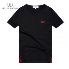 HW Men's Fashion Short Sleeve T-Shirt Mens Spring and Summer New Print Black Round Neck Shirt Men's Trend Brand