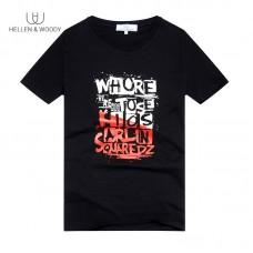 HW 2019 New Summer Men's Letter Printing Cotton Black Slim Tide Brand Trend Round Neck Mens Short-Sleeved T-shirt HW13271706