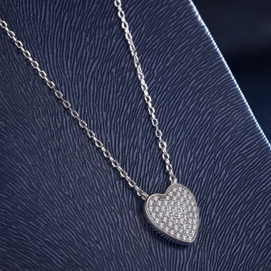 925 Silver Chain Crystal Heart Necklace for Women Jewelry Gift Memory Floating Charm for Lover