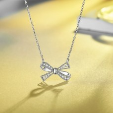 Women Bowknot Necklace Crystal Pendant Chain 925 Sterling Silver Necklace for Female High Quality Silver Jewelry