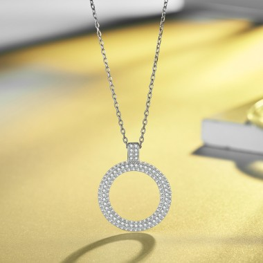 2018 New Simple Chain Necklace for Women 925 Silver Round Shape Crystal Pendant Link Chain Perfectly Jewelry Charms Gift