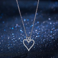 Fashion Love Heart Necklace Silver 925 Pendant Necklaces for Women Chain Wedding Necklace Girl Gift Jewelry