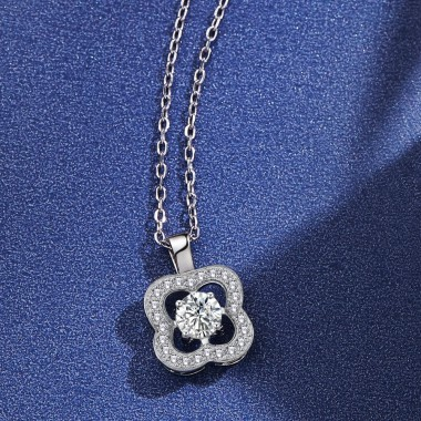 Trendy Crystal Rhinestone Silver Chain 925 Silver Pendant Necklaces for Women Flower Wedding Necklace Gift Jewelry