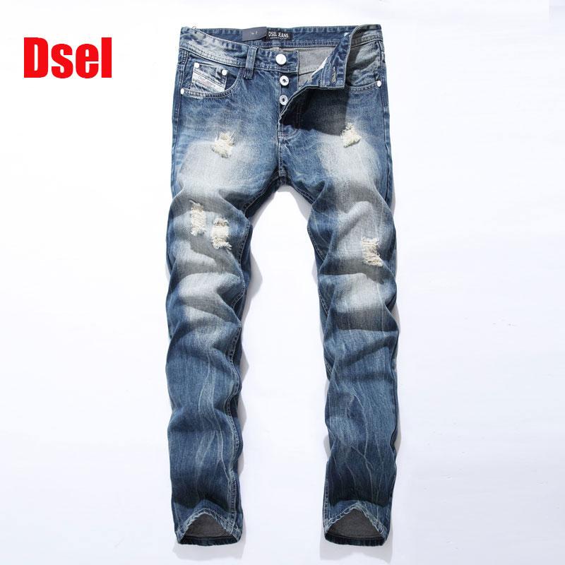 Famous Dsel Brand Fashion Designer Jeans Men Straight Blue Color Printed Mens Jeans Ripped Jeans 100 Cotton