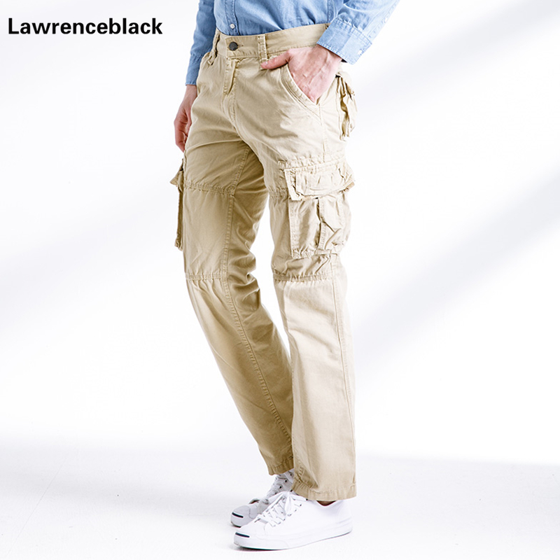 Men S Khaki Cargo Pants Casual Fashion Overalls Pockets Straight Long Trousers 2017 Cotton Mens Sweatpants Pantalones Hombre 668