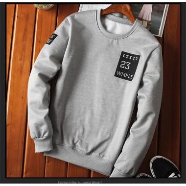 2017 winter style thick warm men Hoodies & Sweatshirts fashion brand O-Neck print slim casual Sweatshirts for men grey black
