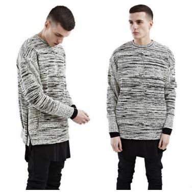 Streetwear winter style European mens Hoodies & Sweatshirts fashion brand grey stripes luxury O-Neck thick Sweatshirts for men