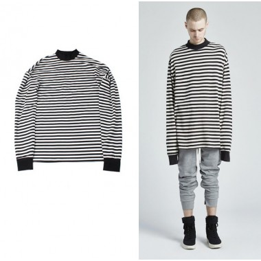 European American Style mens Hoodies Sweatshirts new High collar White black stripes extended cotton Long sleeve pullover