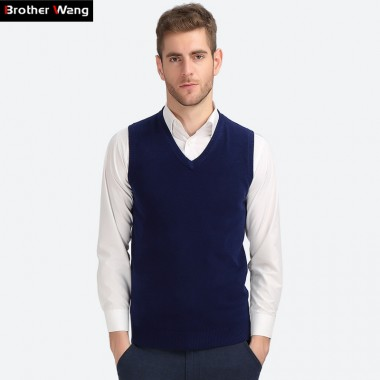 Brother Wang Business Casual Knitted Vest Male 2017 Autumn Winter New V Collar Cotton Pullover Slim Sweater Mens Black