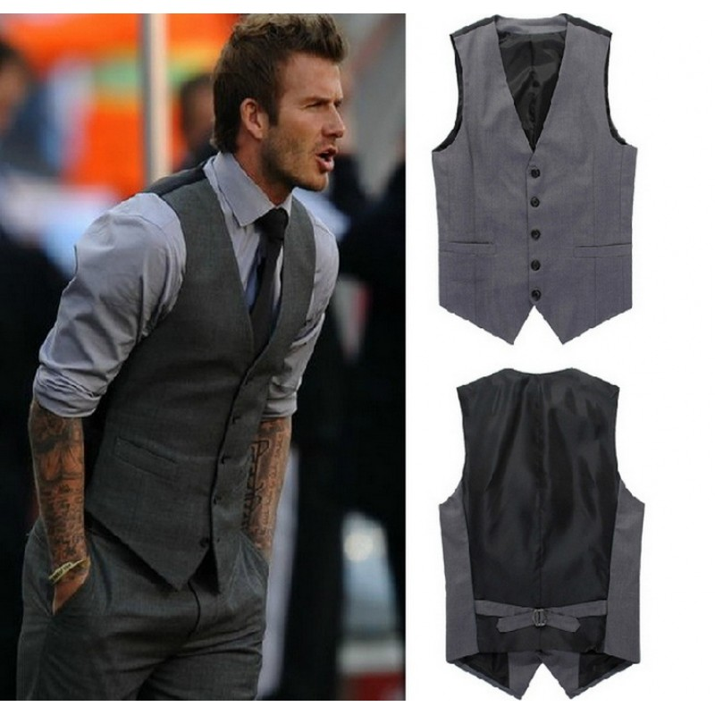 European Style Men S Fashion Suit Vest Business Slim Gentleman Waiters Vest Men Suits Blazer Gray Vest Suit For Men
