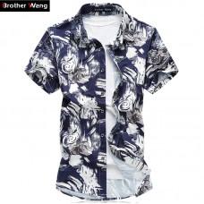 2017 Large Size Men's Shirt  Summer Thin Stretch Casual Printing Shirt Brand Male Mercerized Cotton Slim Fit Shirt  6XL 7XL