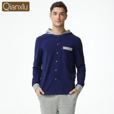 Qianxiu Hooded Lounge Wear For Men Spring Casual Pajama Sets Plus size Solid Homewear