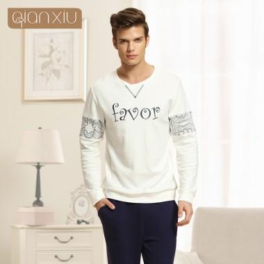 Qianxiu pajamas Couple pajamas sets Men nightwear O-neck sleepwear Long sleeve lounge wear for men free shipping