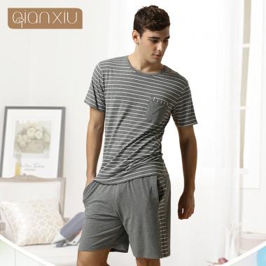 Qiaxniu Pajamas For Men  Couples Set Short sleeve shorts classic stripes high-grade Pajama sets
